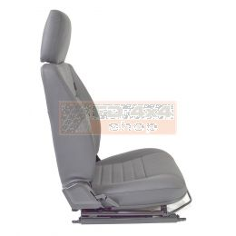 """90""""/110"""" Front Outer Seat - R/H - Grey Leather -  White Stitch"""