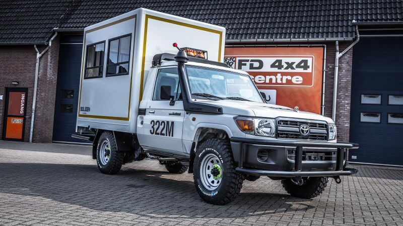 Land Cruiser mobile office conversion for mining